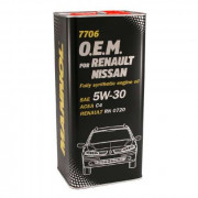 Масло Mannol O.E.M.for Renault Nissan 5W30 SN/CF (5л) МЕТАЛЛ 7706